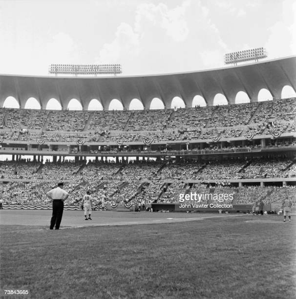 General view of the action during the annual Major League Baseball All- Star Game on July 12, 1966 at Busch Memorial Stadium in St. Louis, Missouri....