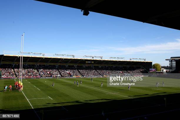 A general view of the action during the Aviva Premiership match between Harlequins and Newcastle Falcons at Twickenham Stoop on March 25 2017 in...