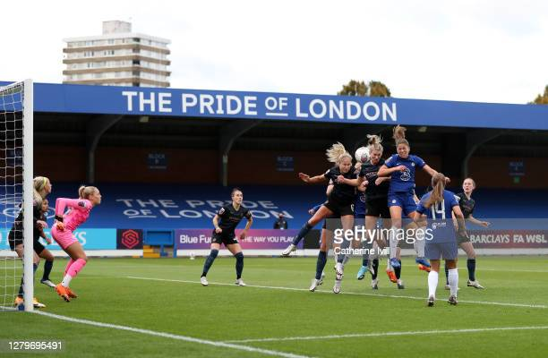 General view of the action during the Barclays FA Women's Super League match between Chelsea Women and Manchester City Women at Kingsmeadow on...