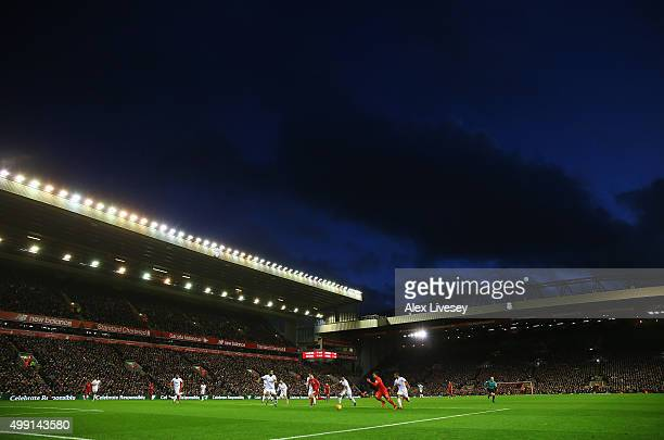 A general view of the action during the Barclays Premier League match between Liverpool and Swansea City at Anfield on November 29 2015 in Liverpool...
