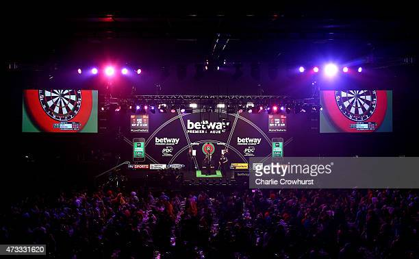 A general view of the action during the Betway Premier League at The Brighton Centre on May 14 2015 in Brighton England