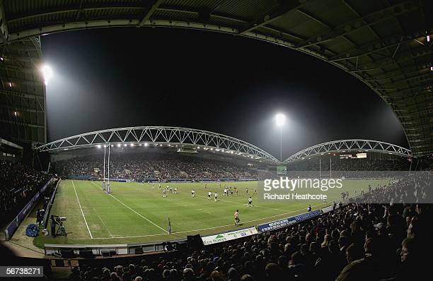 A general view of the action during the Carnegie World Club Challenge between Bradford Bulls and Wests Tigers at the Galpharm Stadium on February 03...