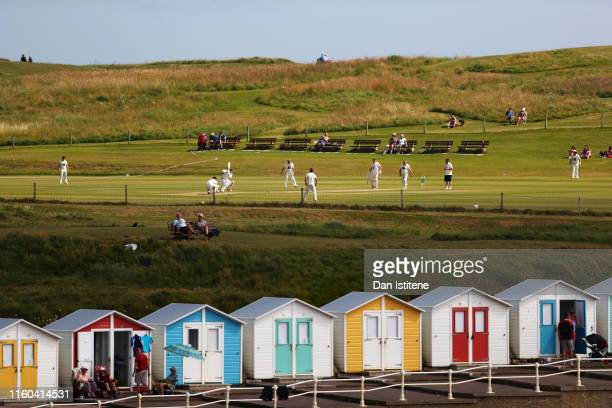 A general view of the action during the Cornwall Cricket League Division 2 East match between Bude CC and Menheniot/Looe CC at Crooklets Cricket...