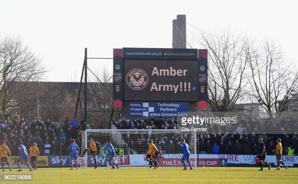 A general view of the action during The Emirates FA Cup Third Round match between Newport County and Leeds United at Rodney Parade on January 7 2018...