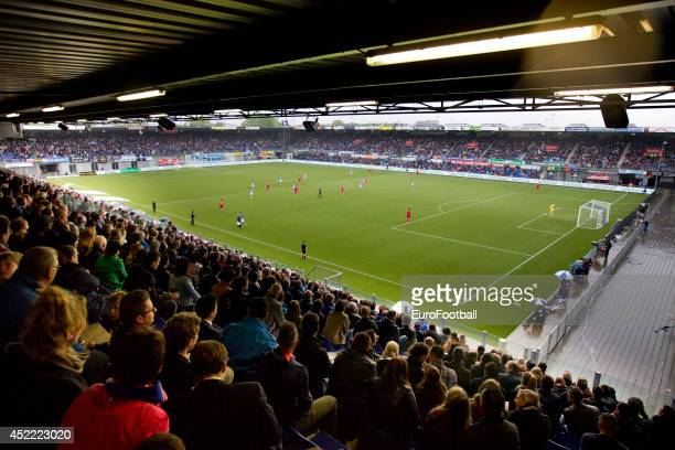 A general view of the action during the Eredivisie Dutch League match between PEC Zwolle and PSV Eindhoven at the IJsseldelta Stadion on April 272014...