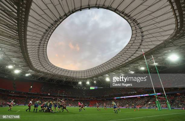 A general view of the action during the European Rugby Challenge Cup Final match between Cardiff Blues and Gloucester Rugby at San Mames Stadium on...