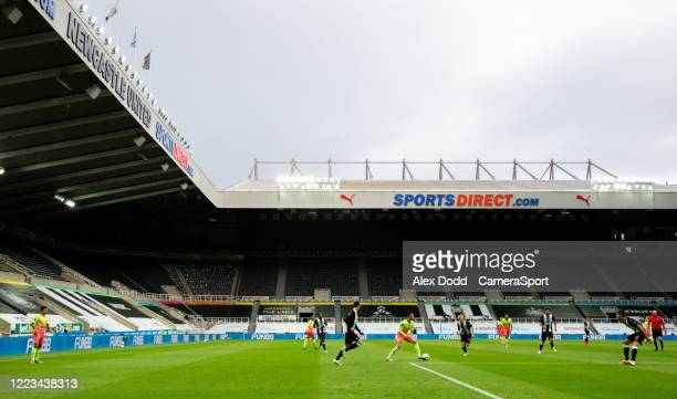 General view of the action during the FA Cup Quarter Final match between Newcastle United and Manchester City at St. James Park on June 28, 2020 in...