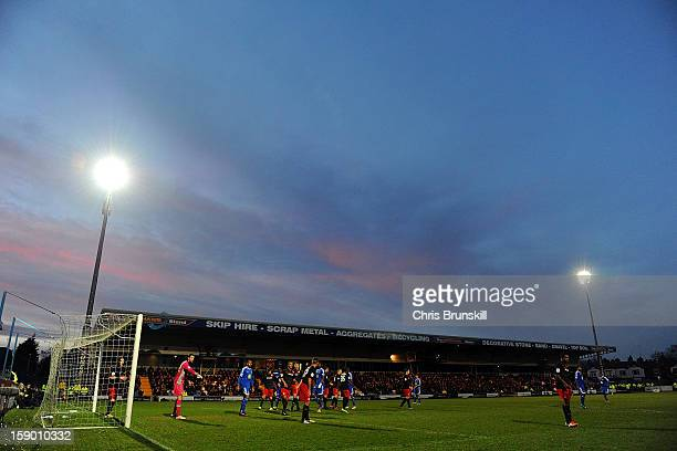 A general view of the action during the FA Cup with Budweiser Third Round match between Macclesfield Town and Cardiff City at Moss Rose Ground on...