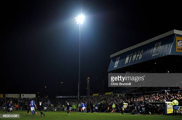 A general view of the action during the FA Cup with Budweiser Third Round match between Macclesfield Town and Sheffield Wednesday at Moss Rose Ground...