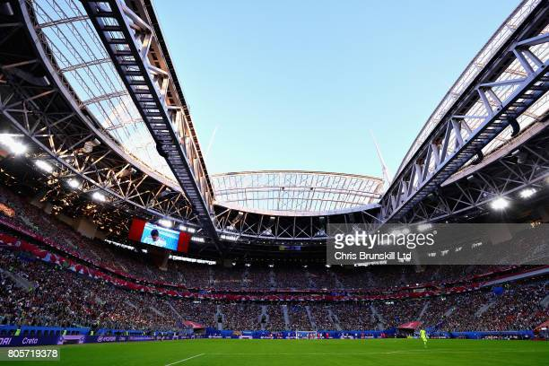 A general view of the action during the FIFA Confederations Cup Russia 2017 Final match between Chile and Germany at Saint Petersburg Stadium on July...