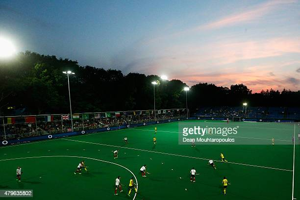 A general view of the action during the Fintro Hockey World League SemiFinal match between Australia and Great Britain held at KHC Dragons...