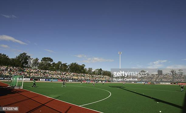 General view of the action during the Hockey match between New Zealand and Scotland at the State Netball & Hockey Centre during day one of the...