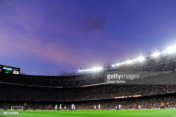 General view of the action during the La Liga match between FC Barcelona and Sevilla FC at Camp Nou on September 14, 2013 in Barcelona, Spain.