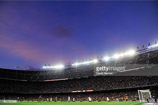 A general view of the action during the La Liga match between FC Barcelona and Sevilla FC at Camp Nou on September 14 2013 in Barcelona Spain