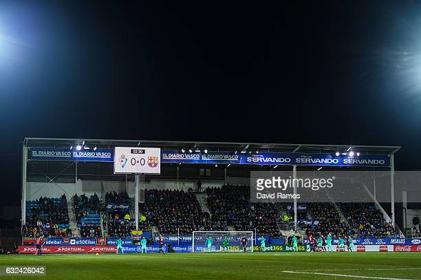 General view of the action during the La Liga match between SD Eibar and FC Barcelona at Ipurua stadium on January 22, 2017 in Eibar, Spain.