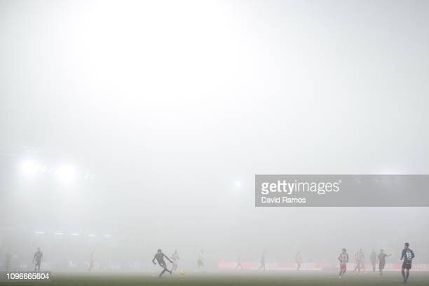 General view of the action during the La Liga match between SD Huesca and Club Atletico de Madrid at Estadio El Alcoraz on January 19, 2019 in...
