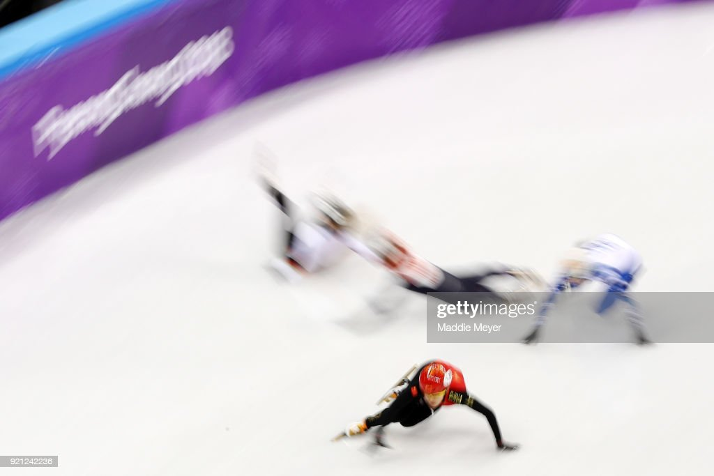 A general view of the action during the Ladies Short Track Speed Skating 1000m Heats on day eleven of the PyeongChang 2018 Winter Olympic Games at Gangneung Ice Arena on February 20, 2018 in Gangneung, South Korea.