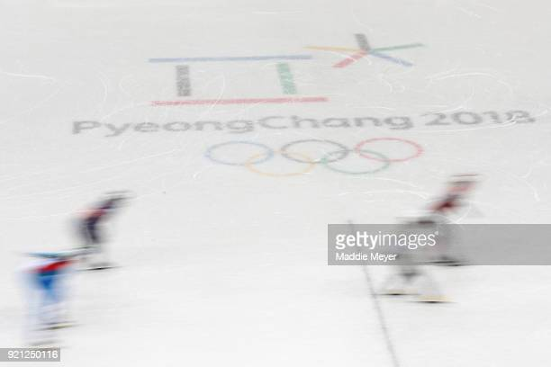 A general view of the action during the Ladies Short Track Speed Skating 1000m Heats on day eleven of the PyeongChang 2018 Winter Olympic Games at...