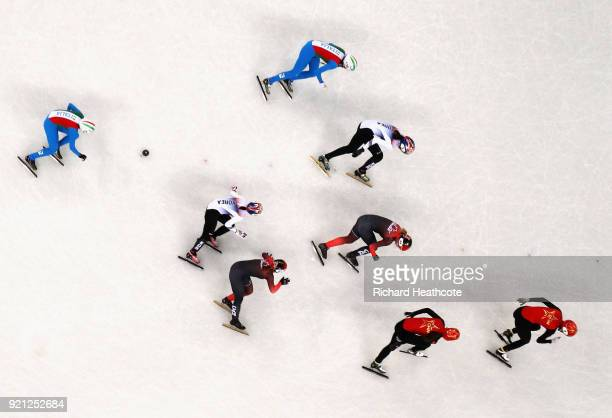 A general view of the action during the Ladies Short Track Speed Skating 3000m Relay Final A on day eleven of the PyeongChang 2018 Winter Olympic...