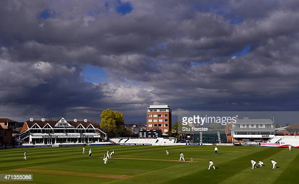 A general view of the action during the last session of day two of the Division One LV County Championship match between Somerset and Middlesex at...