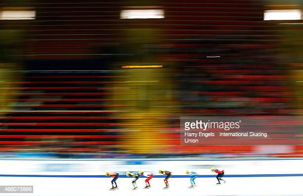 A general view of the action during the Men's 1500m Heats on day one of the ISU World Short Track Speed Skating Championships at the Krylatskoe Speed...