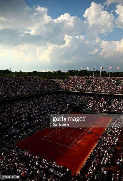 A general view of the action during the Men's Semi Final match between Andy Murray of Great Britain and Novak Djokovic of Serbia on day thirteen of...