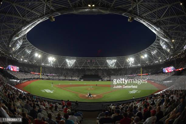 A general view of the action during the MLB London Series game between the New York Yankees and the Boston Red Sox at London Stadium on June 29 2019...