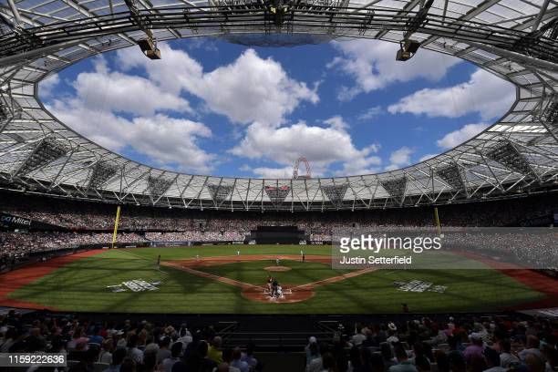 General view of the action during the MLB London Series game between the New York Yankees and the Boston Red Sox at London Stadium on June 30, 2019...