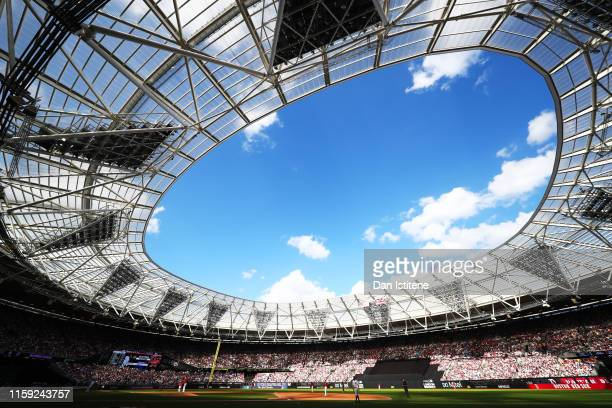 A general view of the action during the MLB London Series game between Boston Red Sox and New York Yankees at London Stadium on June 30 2019 in...