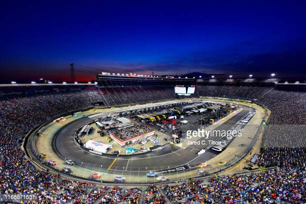 A general view of the action during the Monster Energy NASCAR Cup Series Bass Pro Shops NRA Night Race at Bristol Motor Speedway on August 17 2019 in...