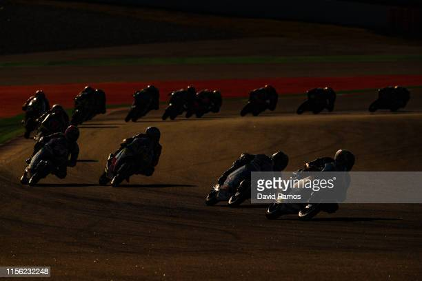 General view of the action during the Moto3 Warmup ahead of the MotoGP Gran Premi Monster Energy de Catalunya at Circuit de BarcelonaCatalunya on...