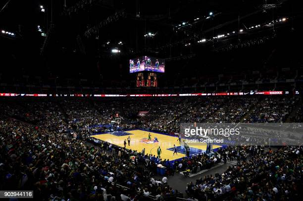 A general view of the action during the NBA game between Boston Celtics and Philadelphia 76ers at The O2 Arena on January 11 2018 in London England