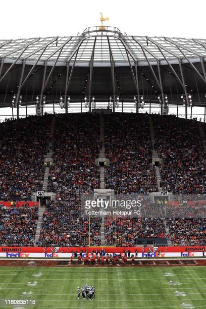 A general view of the action during the NFL game between Carolina Panthers and Tampa Bay Buccaneers at Tottenham Hotspur Stadium on October 13 2019...