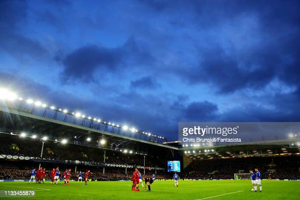 General view of the action during the Premier League match between Everton FC and Liverpool FC at Goodison Park on March 03, 2019 in Liverpool,...