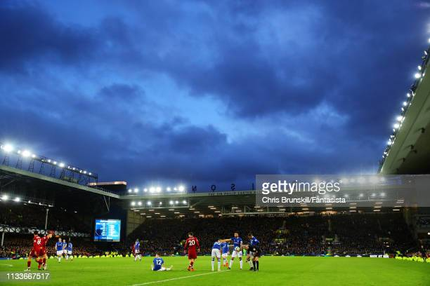 A general view of the action during the Premier League match between Everton FC and Liverpool FC at Goodison Park on March 03 2019 in Liverpool...