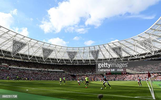 General view of the action during the Premier League match between West Ham United and AFC Bournemouth at Olympic Stadium on August 21 2016 in London...