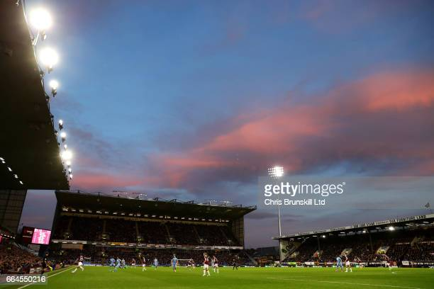 A general view of the action during the Premier League match between Burnley and Stoke City at Turf Moor on April 4 2017 in Burnley England