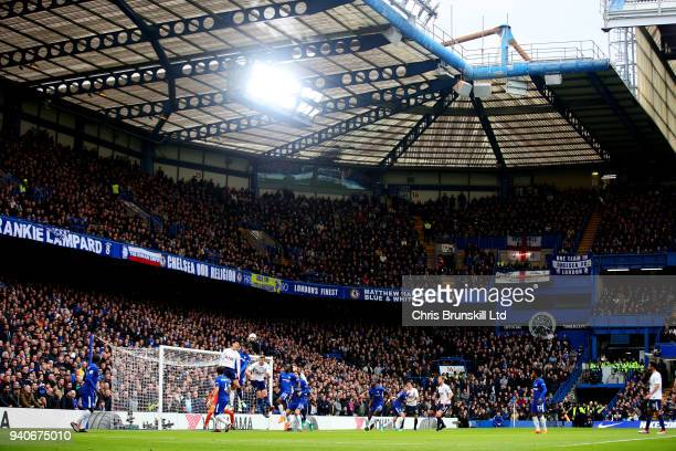 A general view of the action during the Premier League match between Chelsea and Tottenham Hotspur at Stamford Bridge on April 1 2018 in London...