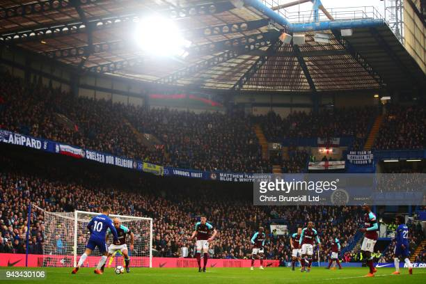 A general view of the action during the Premier League match between Chelsea and West Ham United at Stamford Bridge on April 8 2018 in London England