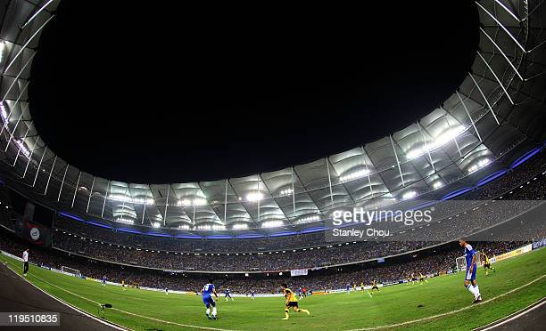 General view of the action during the pre-season friendly match between Malaysia and Chelsea at Bukit Jalil National Stadium on July 21, 2011 in...