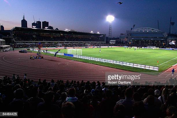 General view of the action during the round two A-League match between Melbourne Victory and Perth Glory at the Olympic Park Stadium on September 4,...