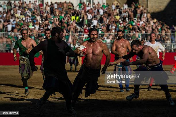A general view of the action during the semifinal match between the La Santa Croce Azzurri Team and the San Giovanni Verdi Team at the La Santa Croce...