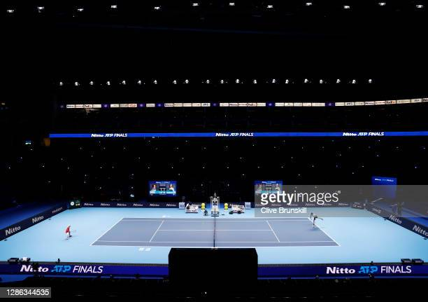 General view of the action during the singles match between Diego Schwartzman of Argentina and Alexander Zverev of Germany on Day 4 of the Nitto ATP...