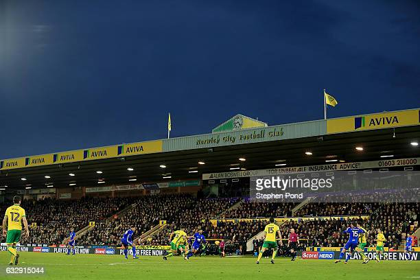 A general view of the action during the Sky Bet Championship match between Norwich City and Birmingham City at Carrow Road on January 28 2017 in...