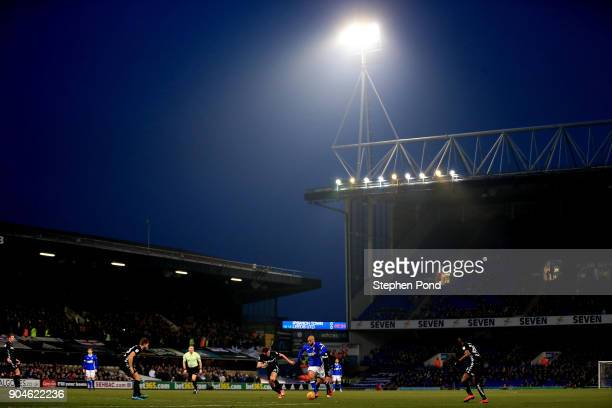 A general view of the action during the Sky Bet Championship match between Ipswich Town and Leeds United at Portman Road on January 13 2018 in...