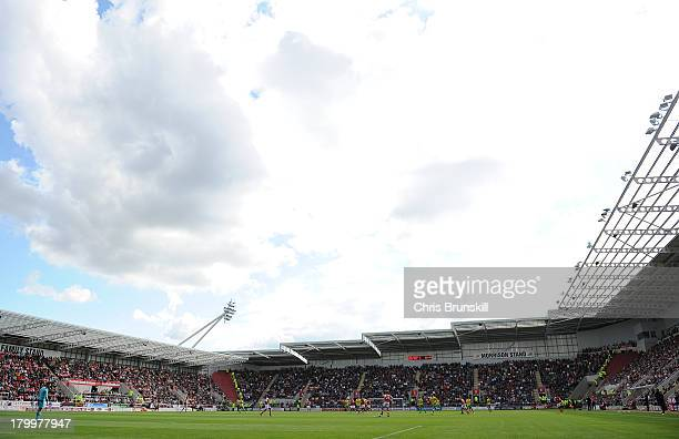 A general view of the action during the Sky Bet League One match between Rotherham United and Sheffield United at the New York Stadium on September 7...