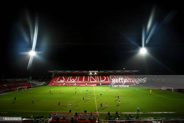 General view of the action during the Sky Bet League One match between Swindon Town and Wigan Athletic at County Ground on February 02, 2021 in...