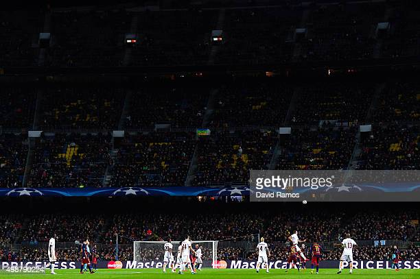 General view of the action during the UEFA Champions League Group E match between FC Barcelona and AS Roma at Camp Nou stadium on November 24 2015 in...