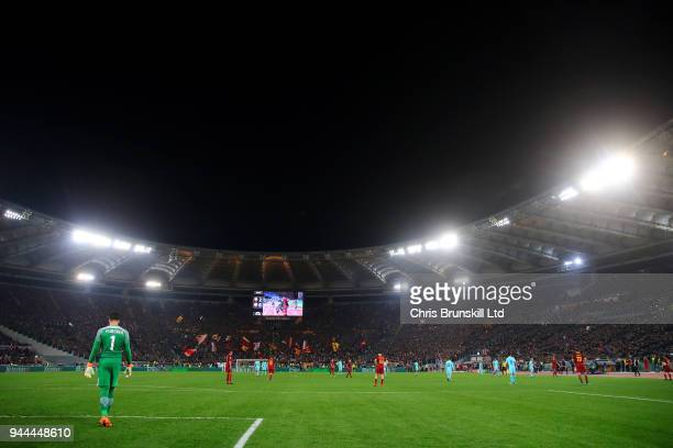 A general view of the action during the UEFA Champions League Quarter Final second leg match between AS Roma and FC Barcelona at Stadio Olimpico on...