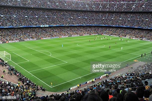 A general view of the action during the UEFA Champions League semifinal match between FC Barcelona and FC Bayern Munchen at Camp Nou on May 6 2015 in...